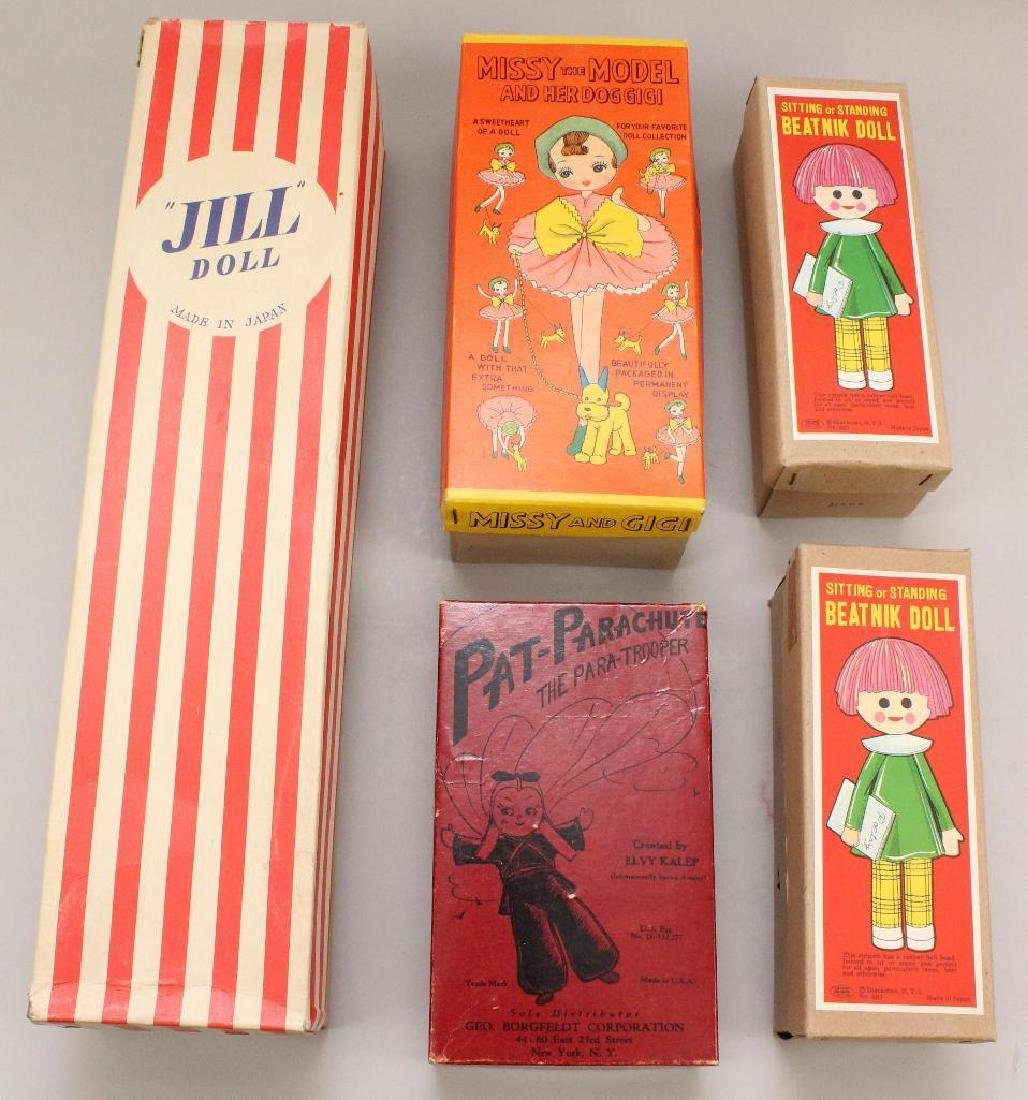 LOT OF (5) NOVELTY DOLLS IN ORIGINAL BOXES.