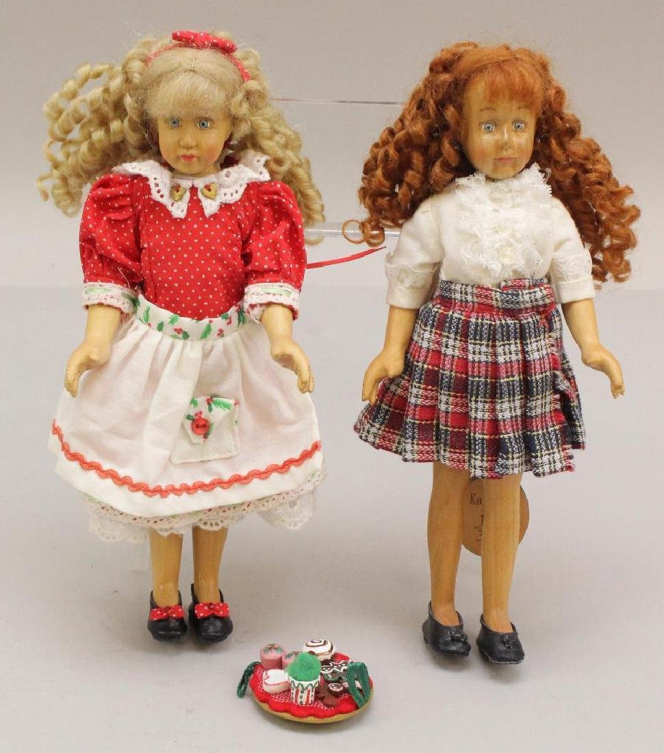 "PAIR OF MINT 9"" ALL ORIGINAL RAIKES WOODEN DOLLS: HOLLY"