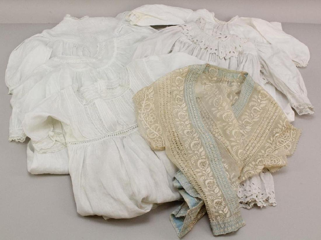 LOT OF WHITE ANTIQUE CHILDREN'S, BABY, ADULT CLOTHING.