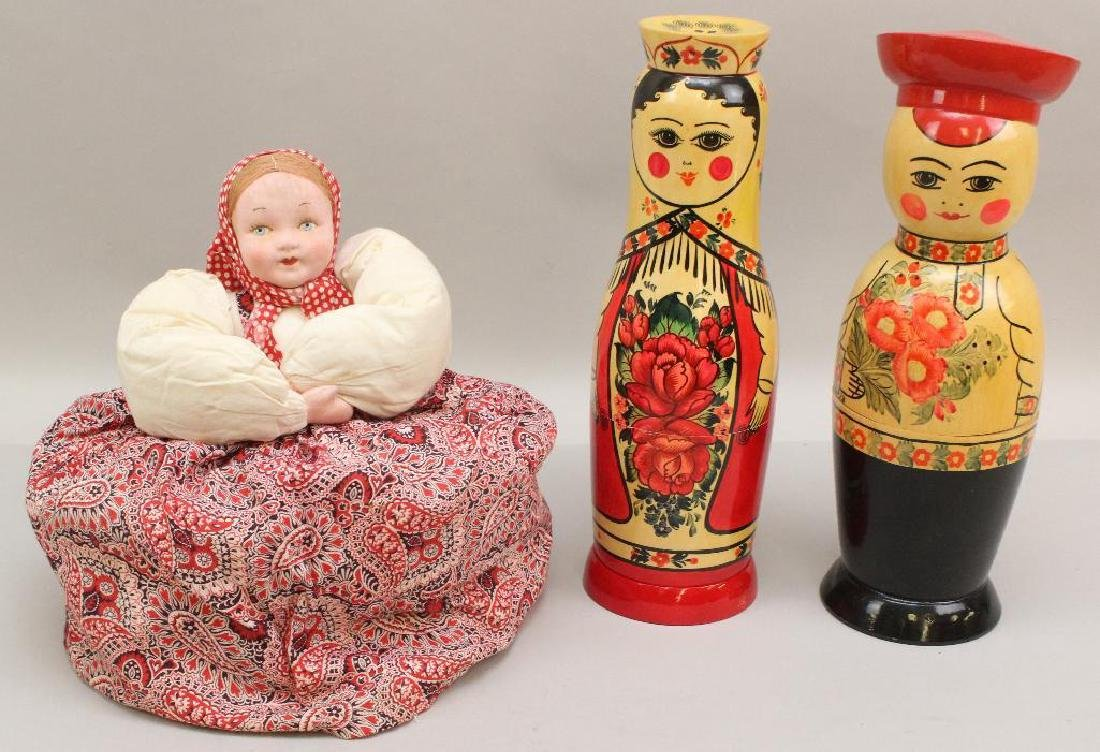 LOT OF (3) TAGGED RUSSIAN ITEMS: TEACOZY & (2) BOTTLE