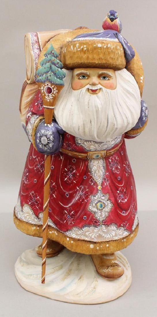"""MINT 17"""" T.  CARVED SOLID WOOD HAND PAINTED RUSSIAN"""