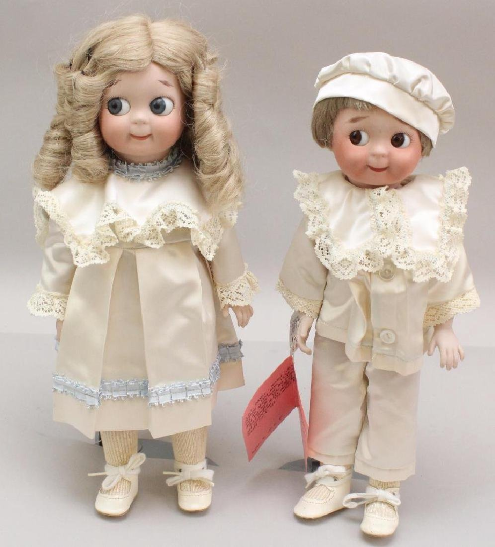 "PAIR OF 14""  REPRODUCTION J.D.K. 221 GOOGLY DOLLS."