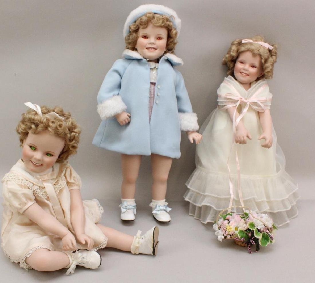 LOT OF (3) PORCELAIN  SHIRLEY TEMPLE DOLLS.