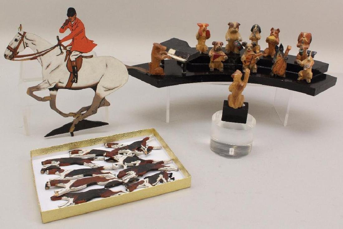 LOT: (11) MEMBER HAND CARVED WOODEN DOG ORCHESTRA,