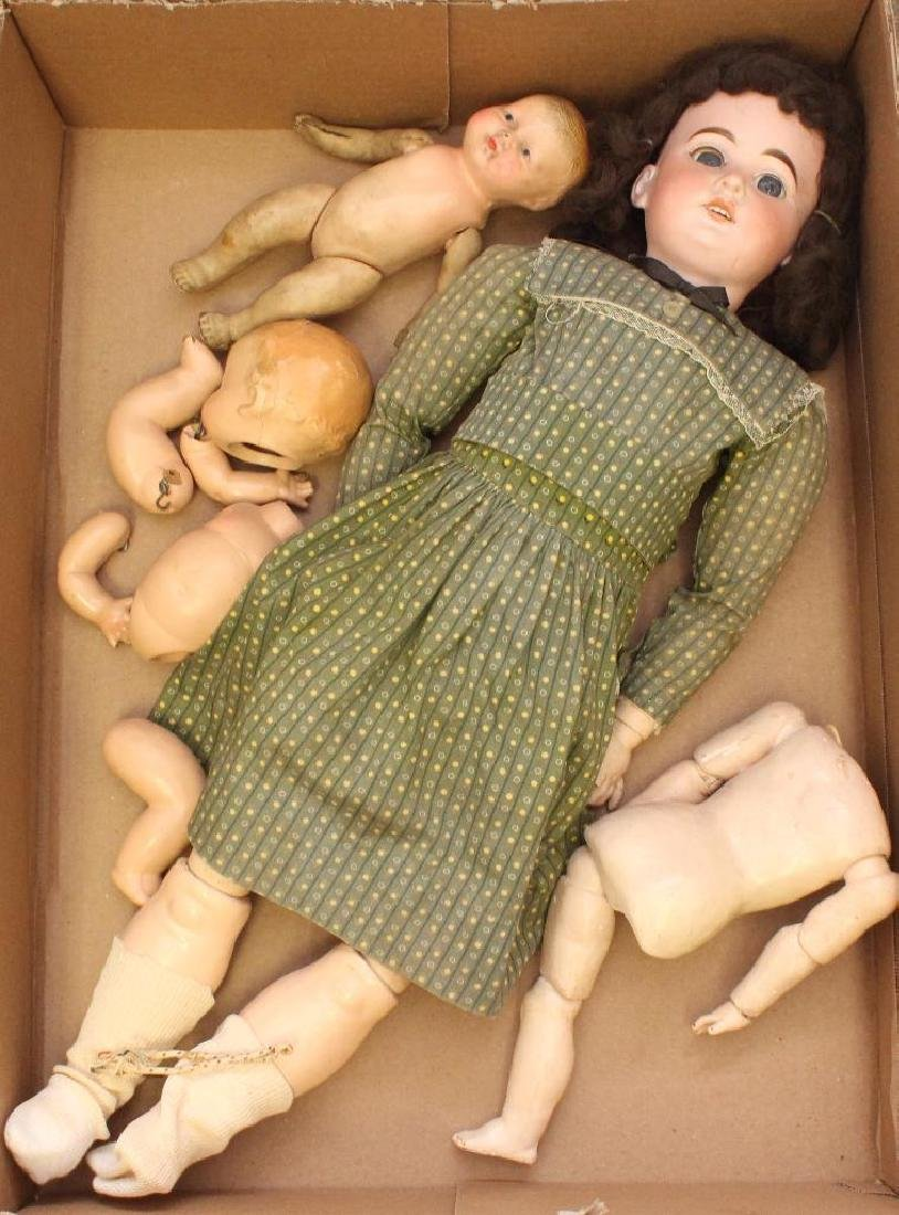 "BODY PARTS: 27"" 1894 AM 10 DEP ANTIQUE BISQUE HEAD DOLL;"