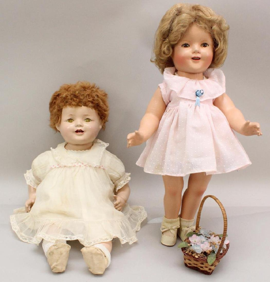 PAIR OF 1930's COMPOSITION DOLLS: SHIRLEY TEMPLE AND