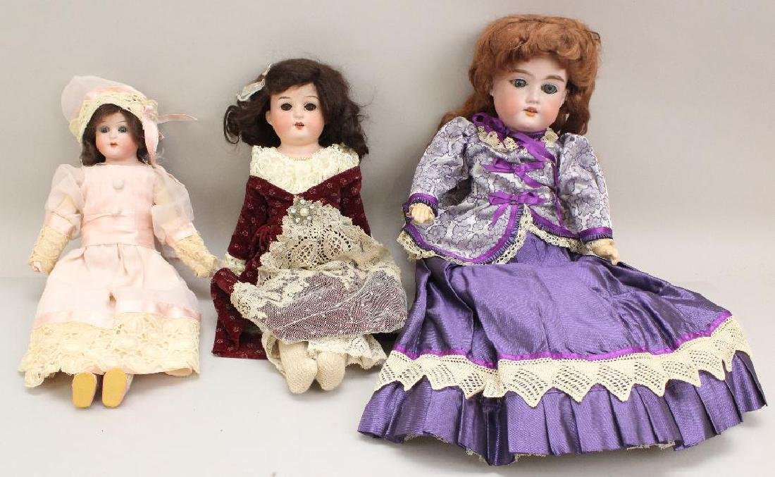 LOT OF (3) ANTIQUE BISQUE HEAD DOLLS: (2) HEUBACH