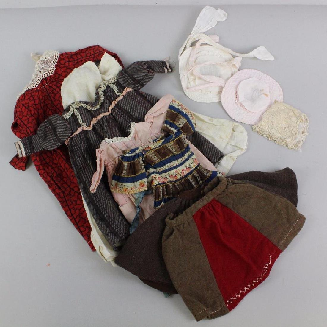LOT OF ANTIQUE DOLL CLOTHING, HATS.