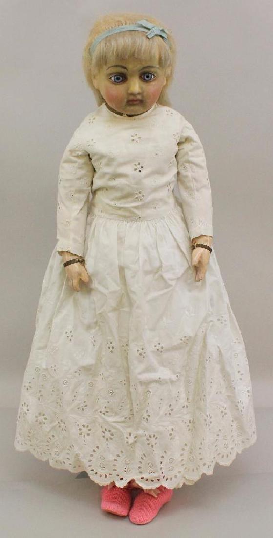 "29"" UNMARKED  1860's - 1900 WAX OVER PAPIER MACHE"
