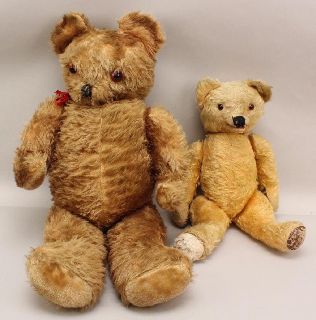 PAIR OF LARGE ANTIQUE TEDDY BEARS.