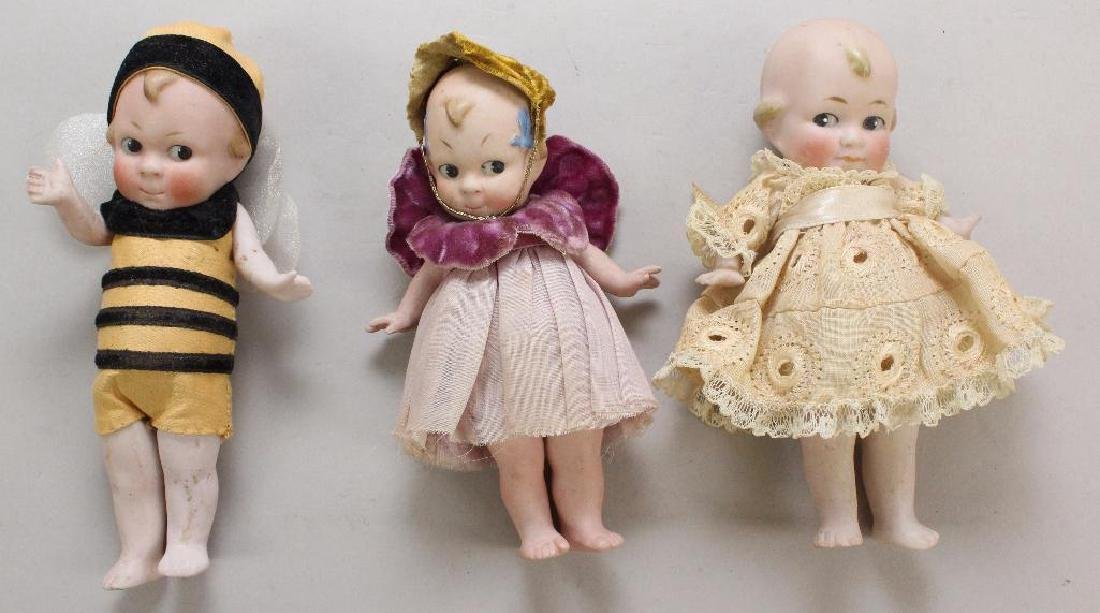 LOT OF (3) ALL BISQUE DOLLS WITH PAINTED SIDE GLANCE
