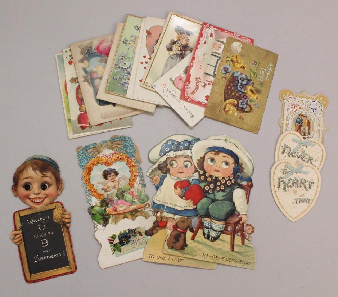 LOT OF VINTAGE HOLIDAY CARDS, MOSTLY VALENTINES.