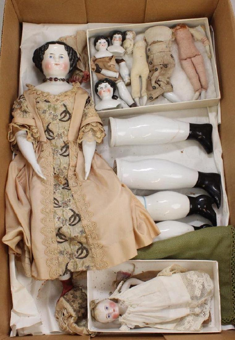 BODY PARTS: ANTIQUE CHINA DOLL & PARTS.