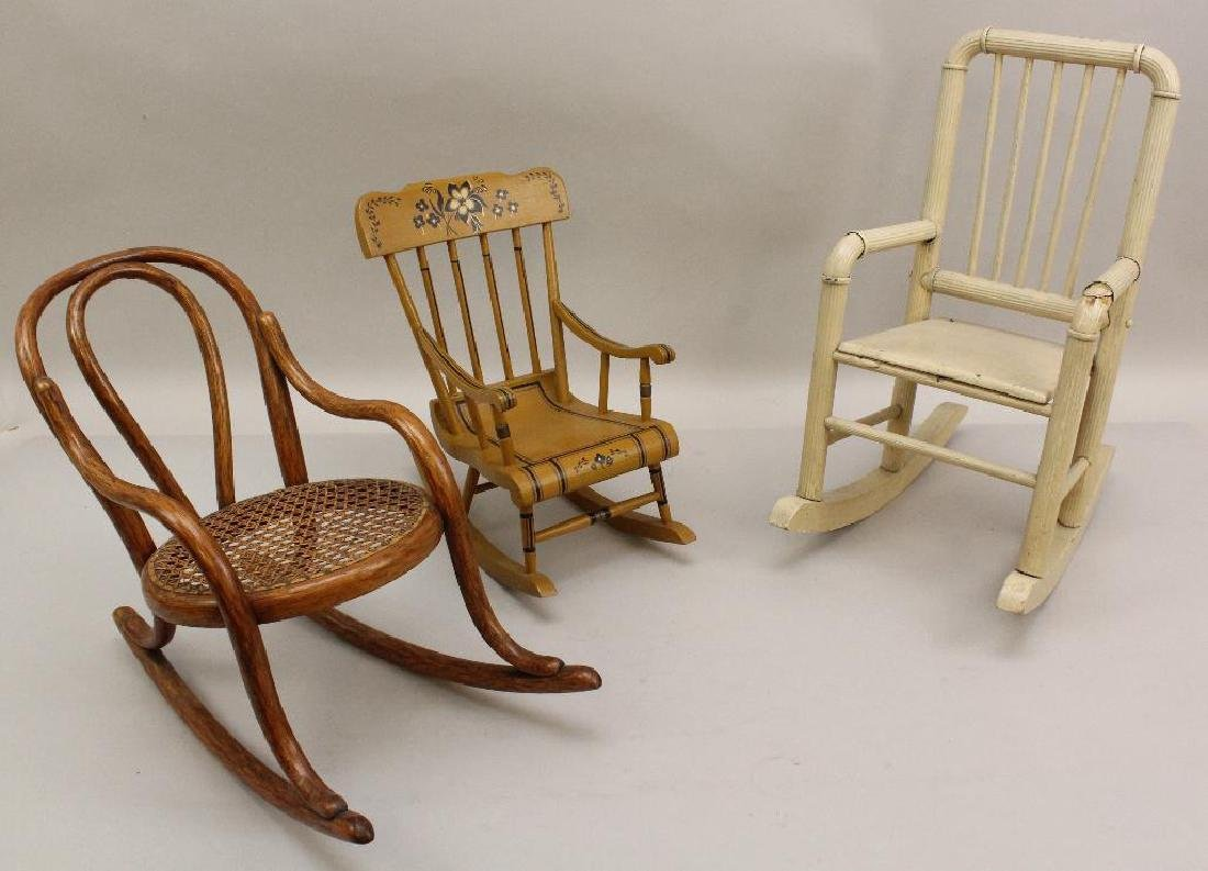 LOT OF (3) ANTIQUE DOLL ROCKING CHAIRS.