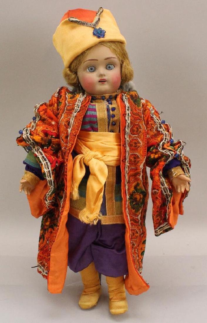"15"" ALL ORIGINAL FIRED HEAD ANTIQUE DOLL IN ETHNIC"