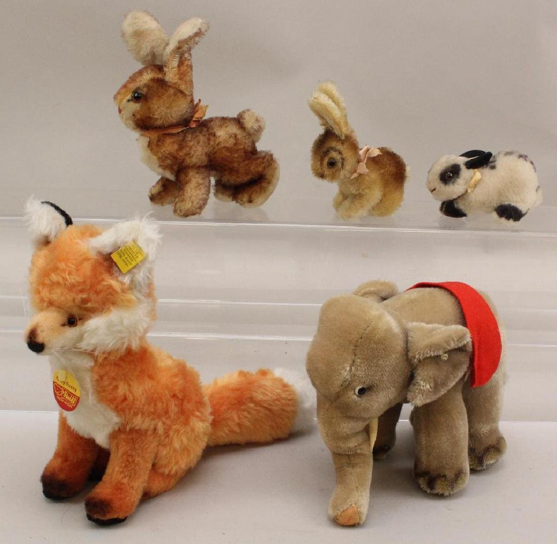 LOT OF (5) STEIFF ANIMALS: MOHAIR & PLUSH.