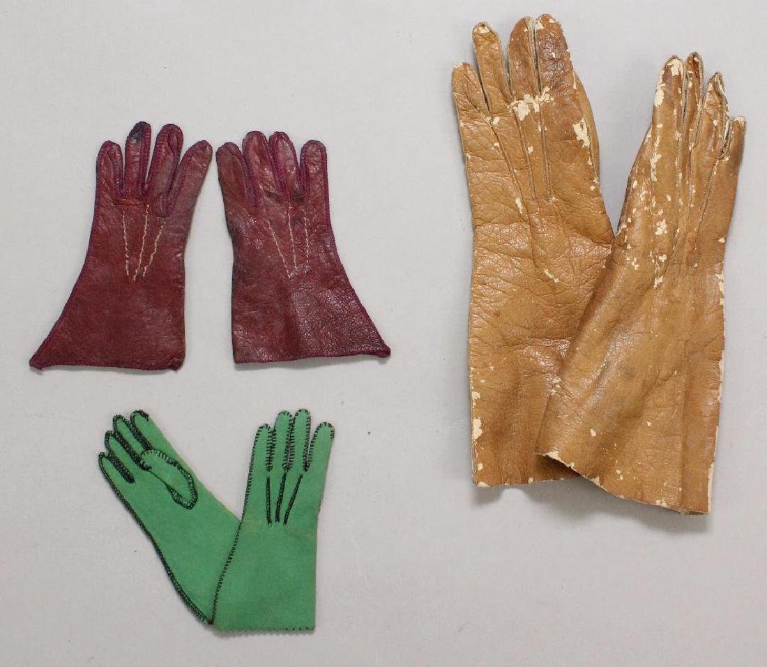 BODY PARTS & SUPPLIES: (3) PRS. OF ANTIQUE LEATHER DOLL