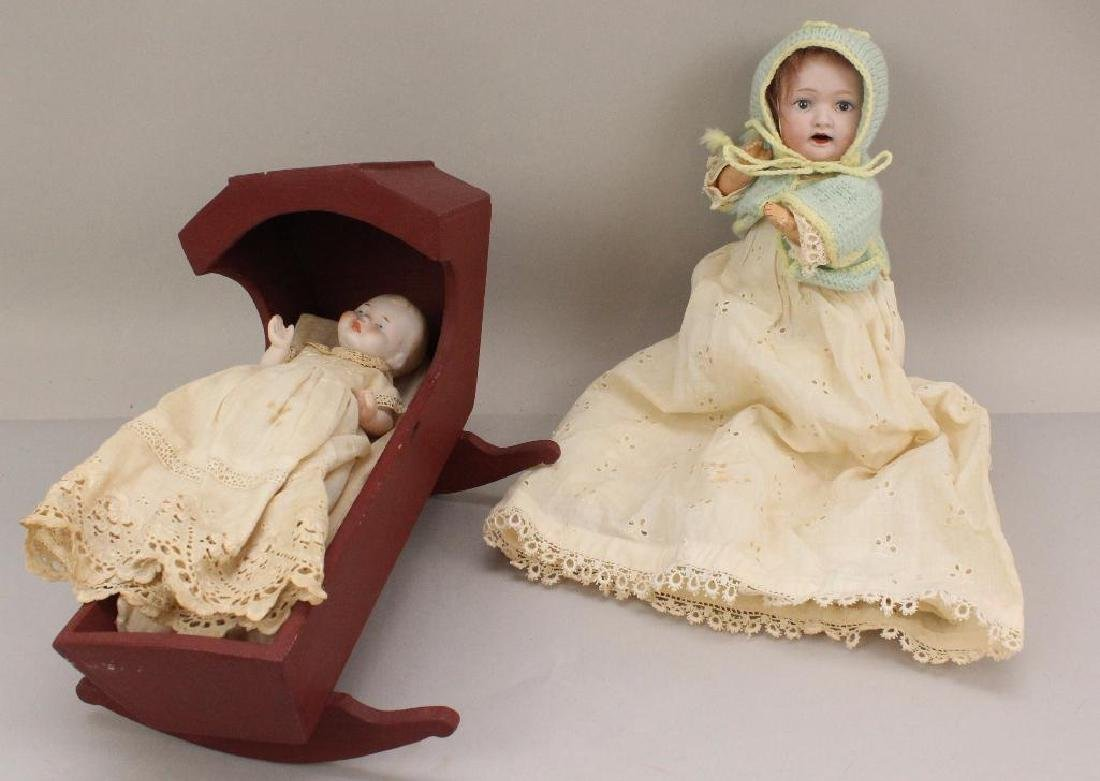 PAIR OF BISQUE HEAD BABY DOLLS: MORIMURA CHARACTER &