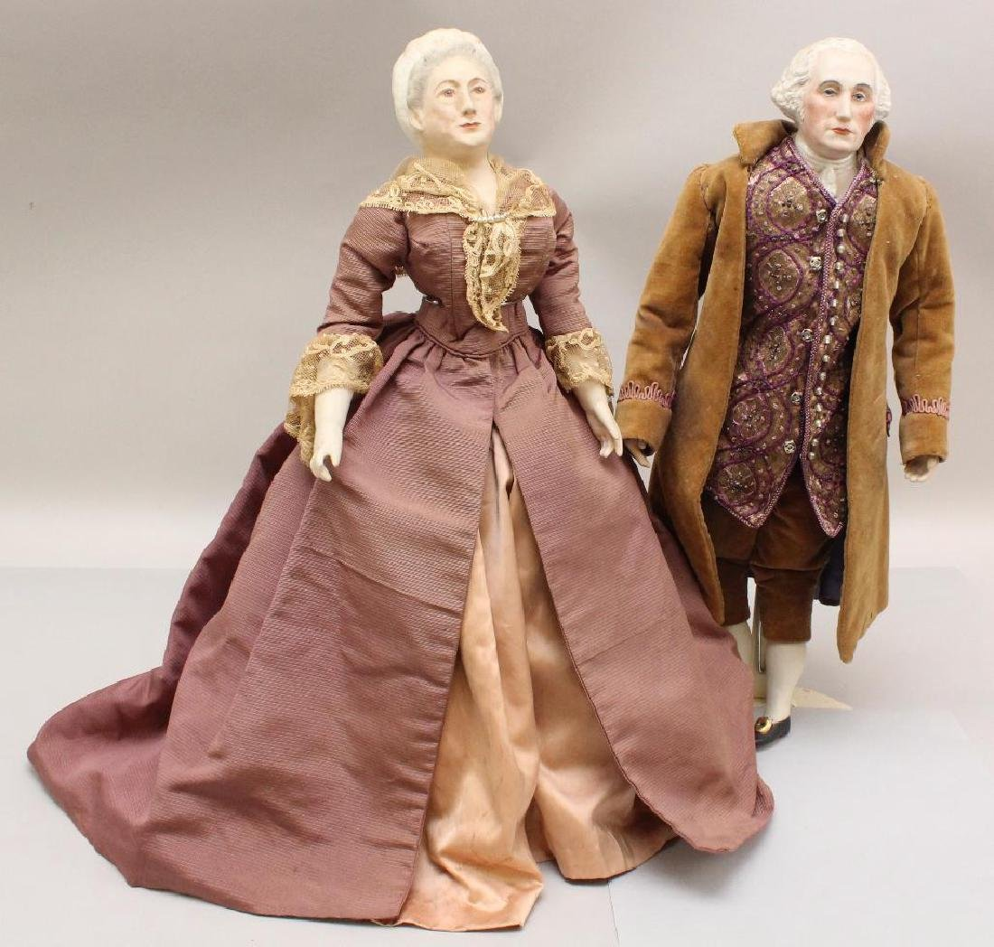 PAIR OF DOLLS: GEORGE & MARTHA WASHINGTON CREATED BY