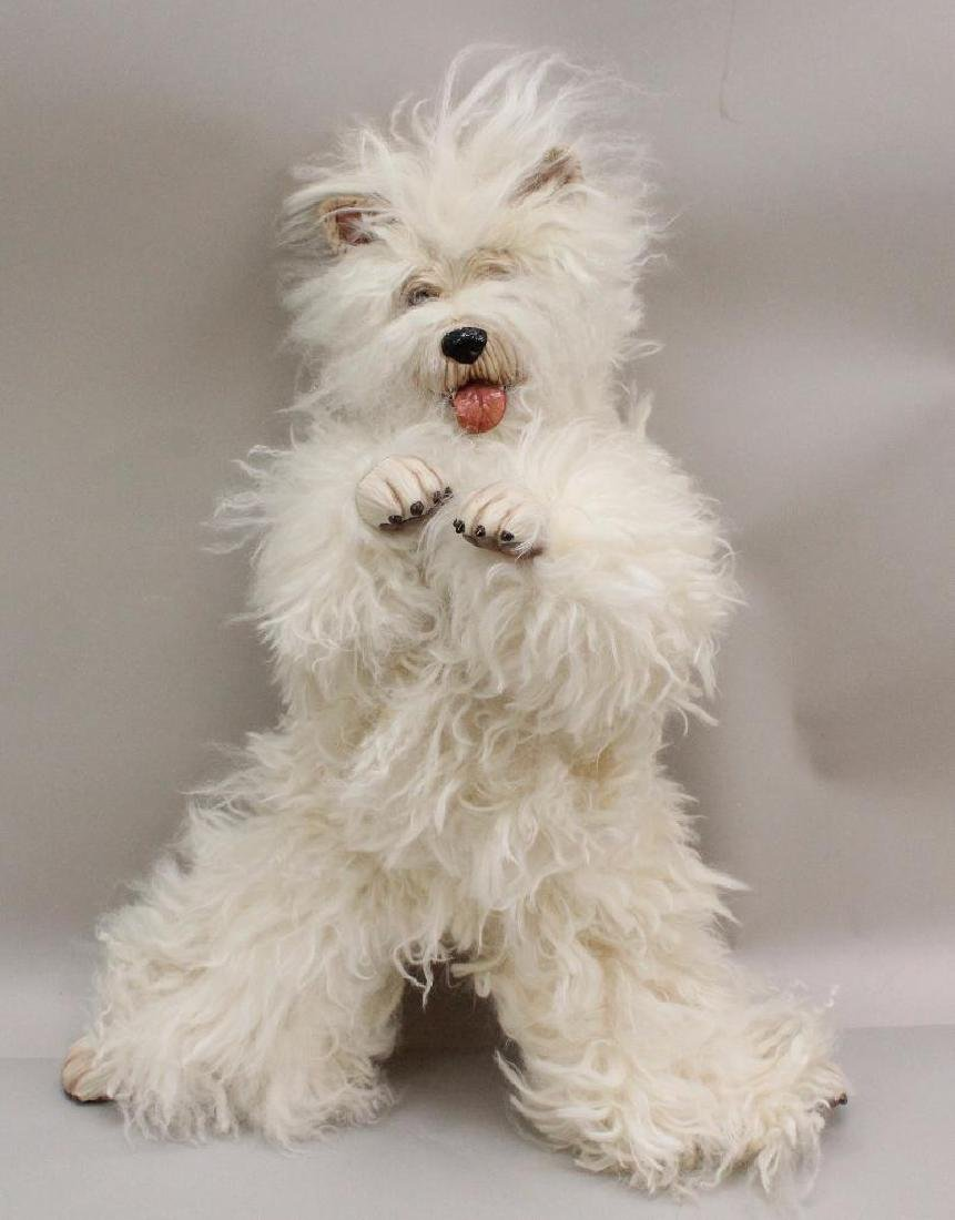 "21"" WHITE FUR DOG MARKED 2,000 WENDY CRAWFORD & BARBARA"