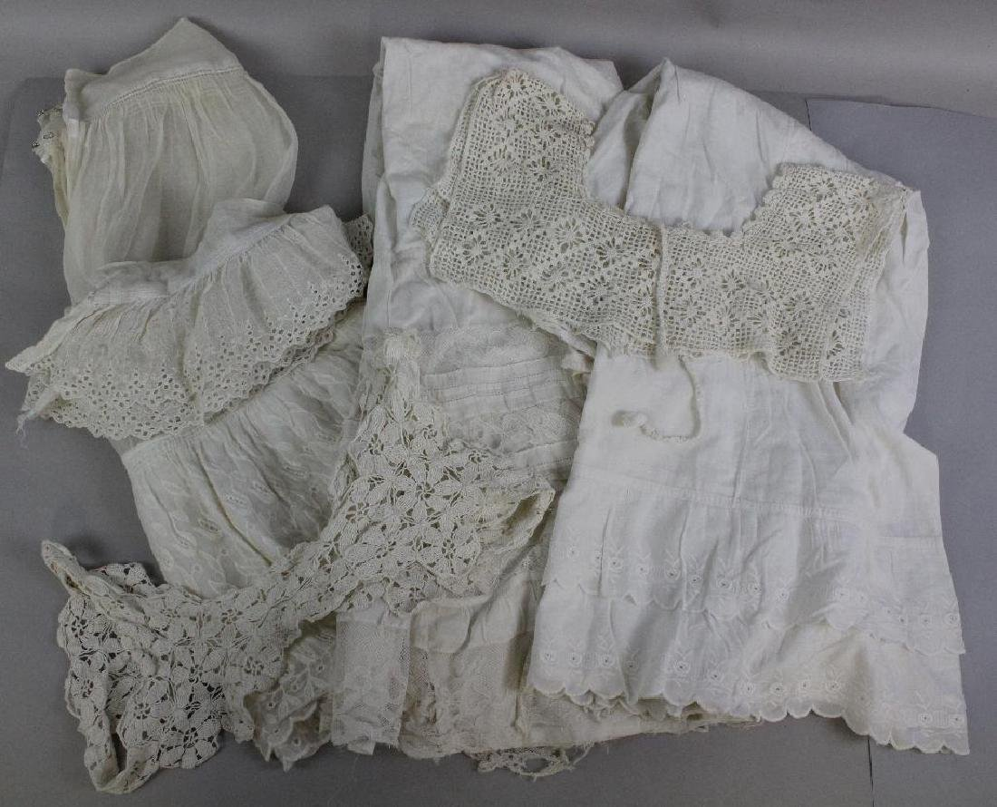 LOT OF (3) ANTIQUE LADIES' WHITE COTTON PETTICOATS; (2)