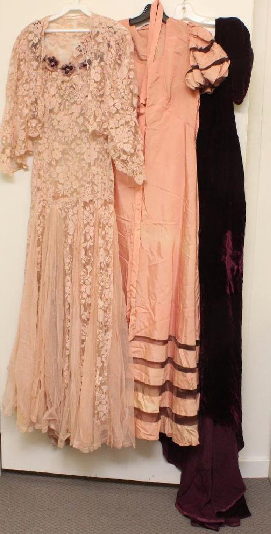 LOT OF (3) VINTAGE LADIES' LONG GOWNS.
