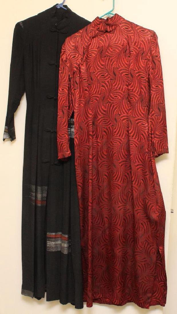 PAIR OF 1930's-40's CUSTOM MADE LONG DRESSES FROM