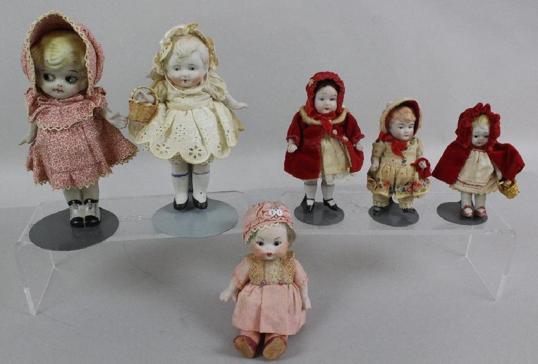 LOT OF (6) ALL BISQUE DOLLS WITH PAINTED EYES: (5)