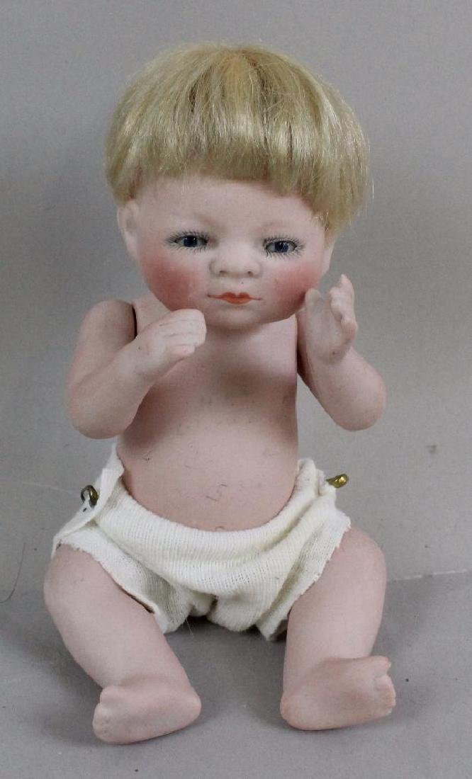 "6""  76/16 ANTIQUE ALL BISQUE BYELO  DOLL WITH TODDLER"