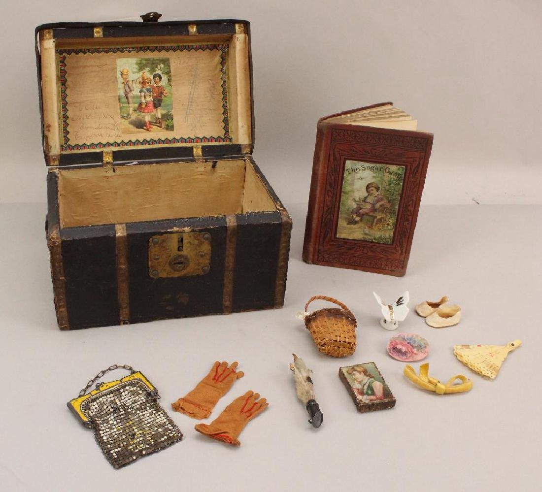 LOT: ANTIQUE DOLL TRUNK, 1875 BOOK, MINIATURES AND