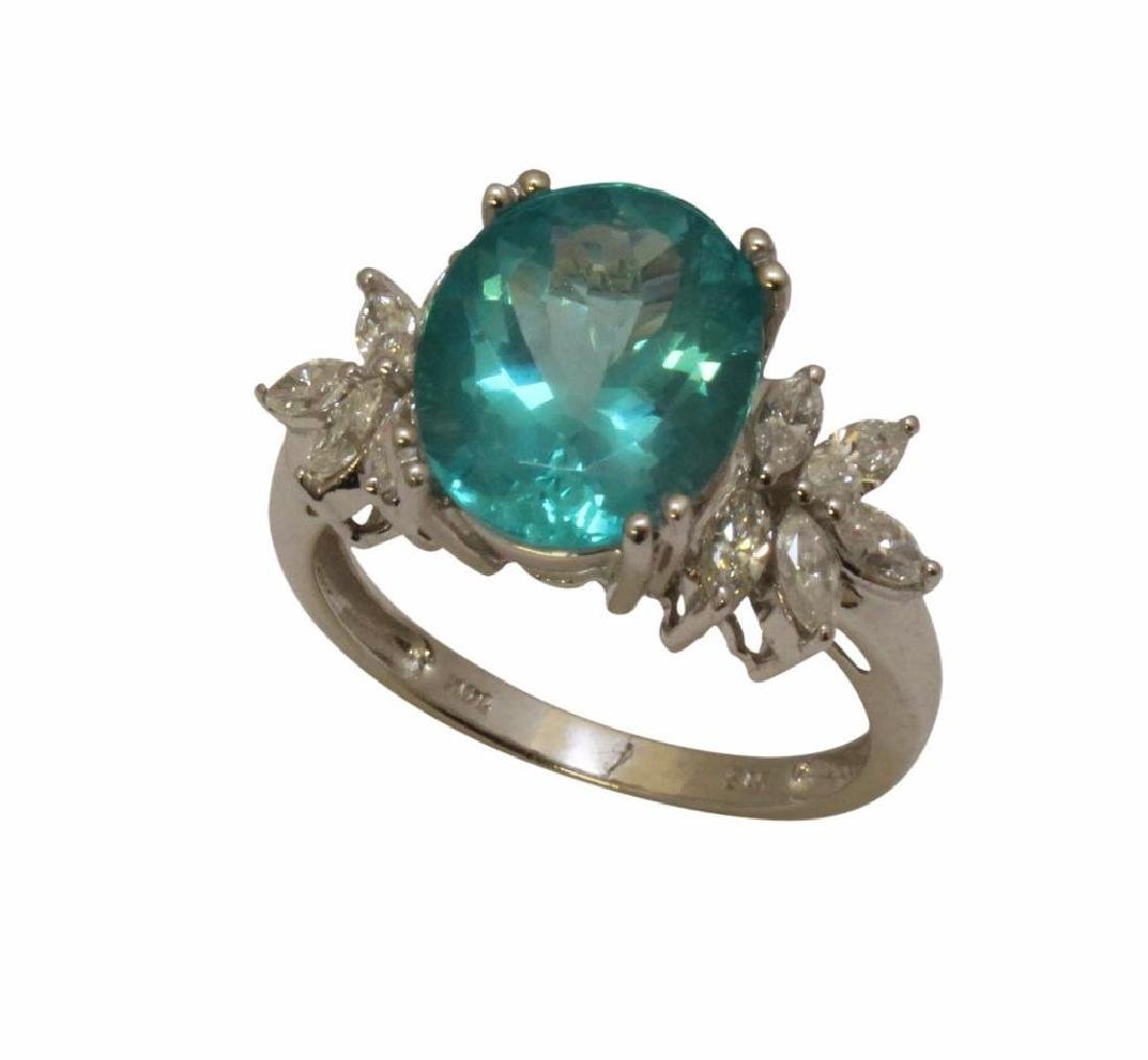 14KW Gold Ring with Apatite and Diamond