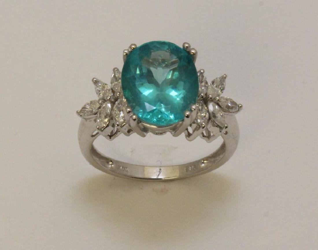 14KW Gold Ring with Apatite and Diamond - 2