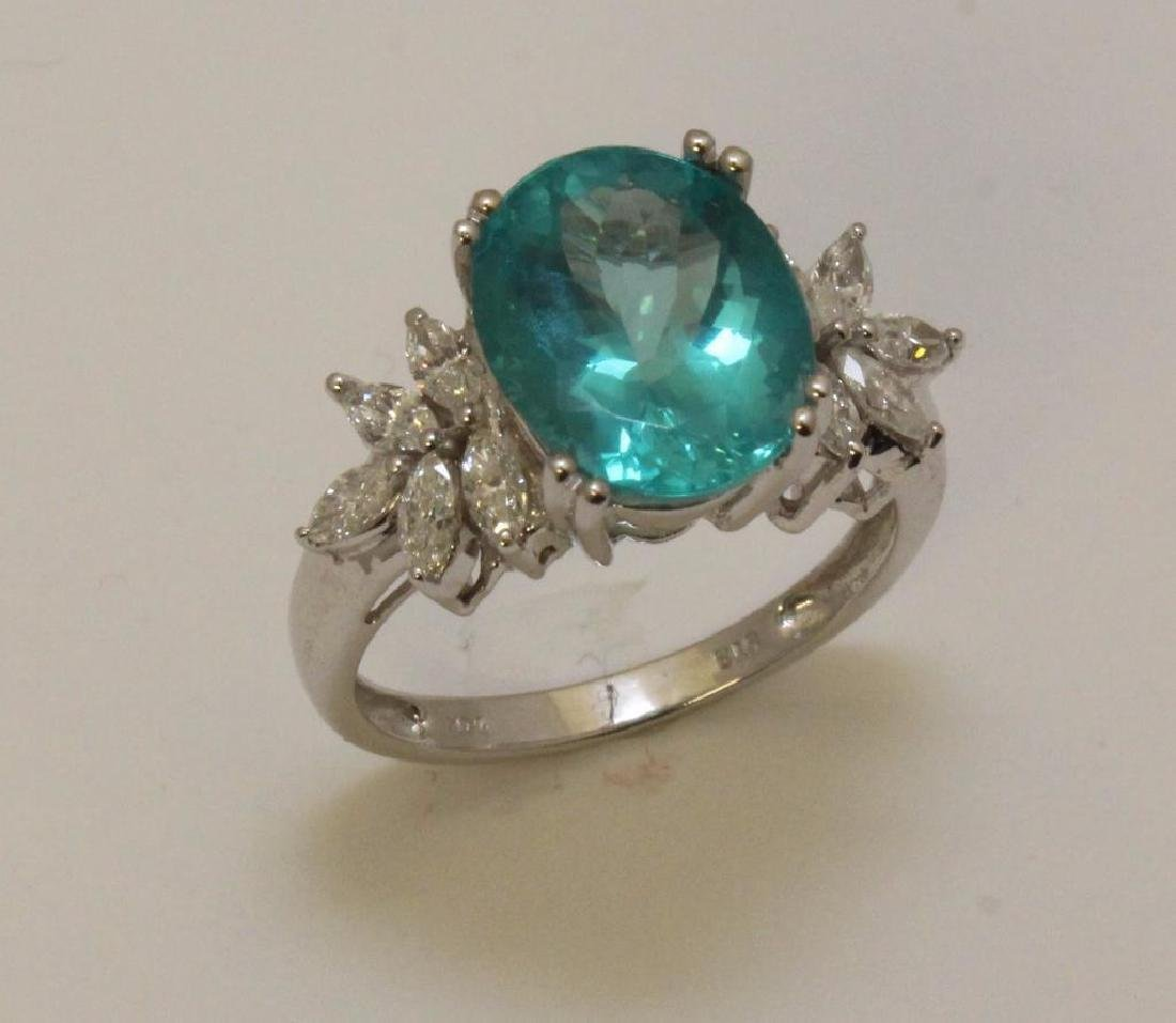 14KW Gold Ring with Apatite and Diamond - 3