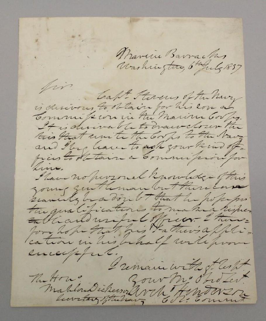 Marine Corps Letter -  Commandant Archibald Henderson