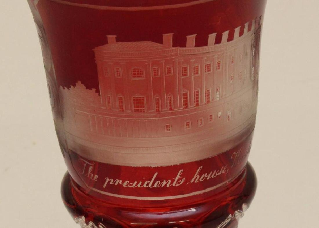Bohemian Glass Goblet Featuring White House - 2