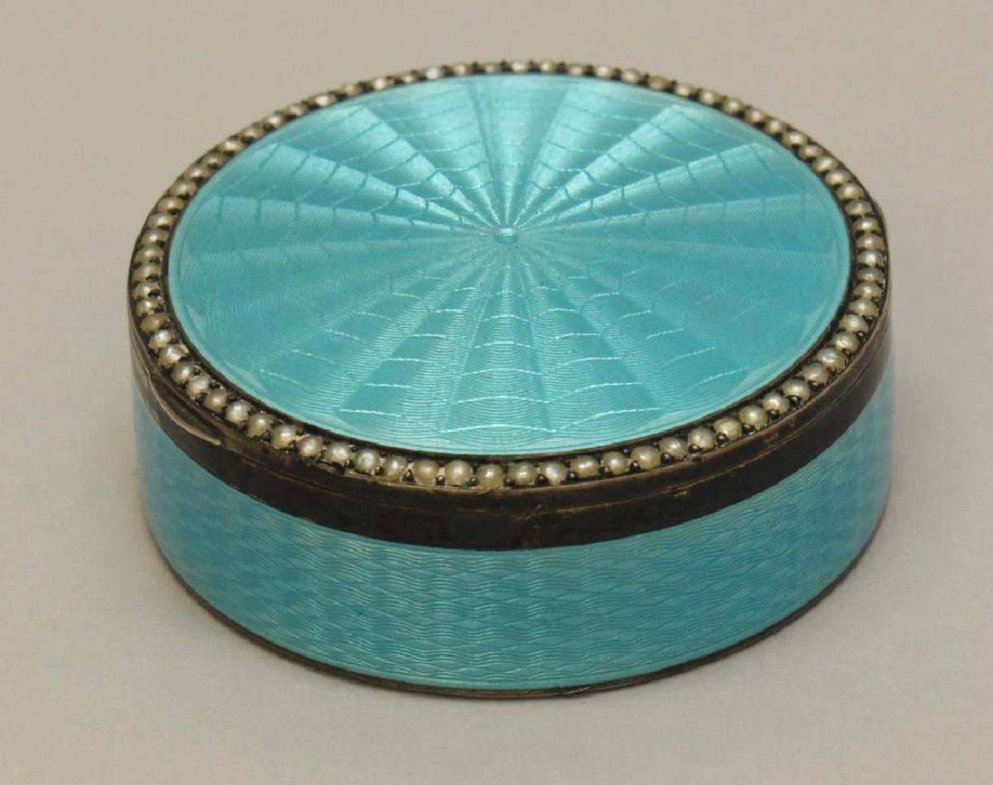 Blue Guilloche Enamel Sterling Box