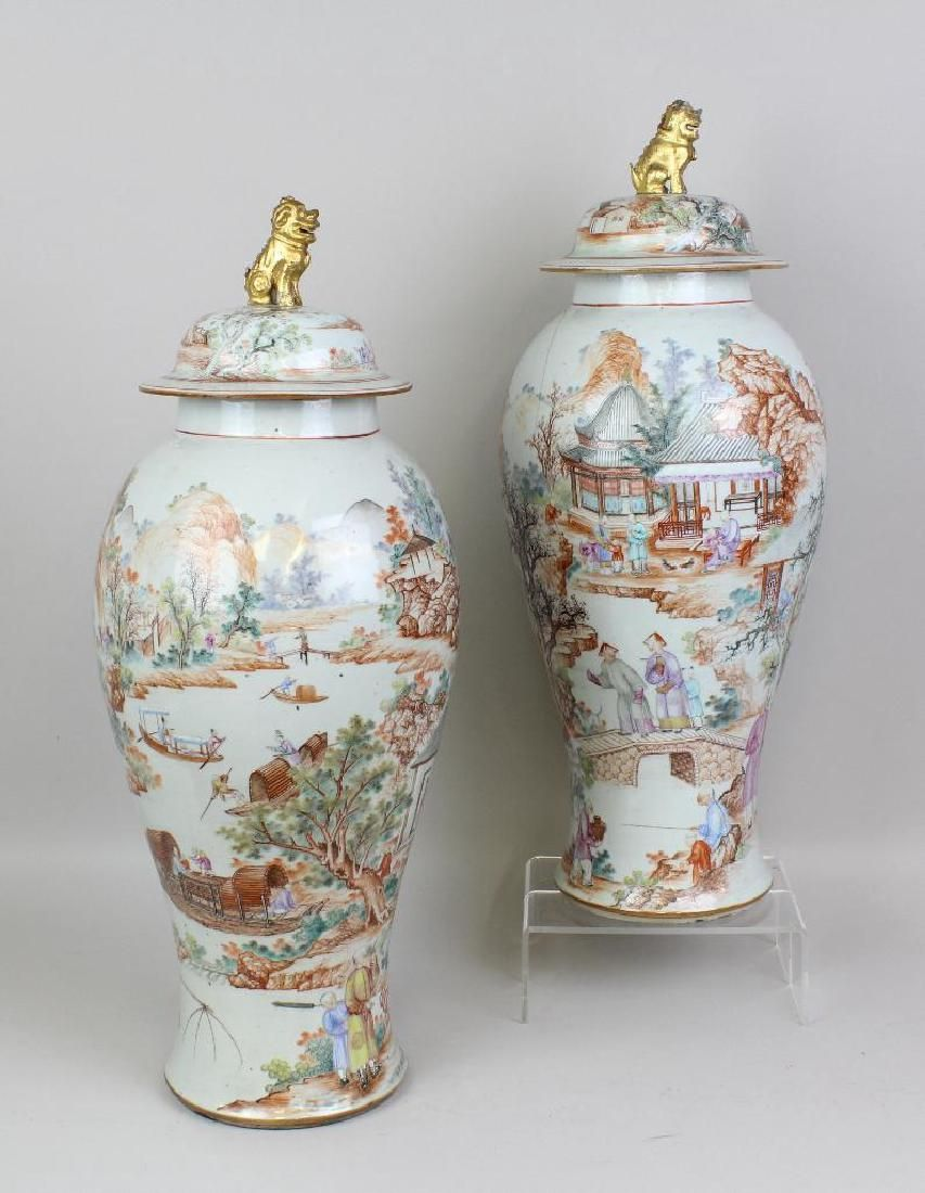 Pair of Large Chinese Export Urns