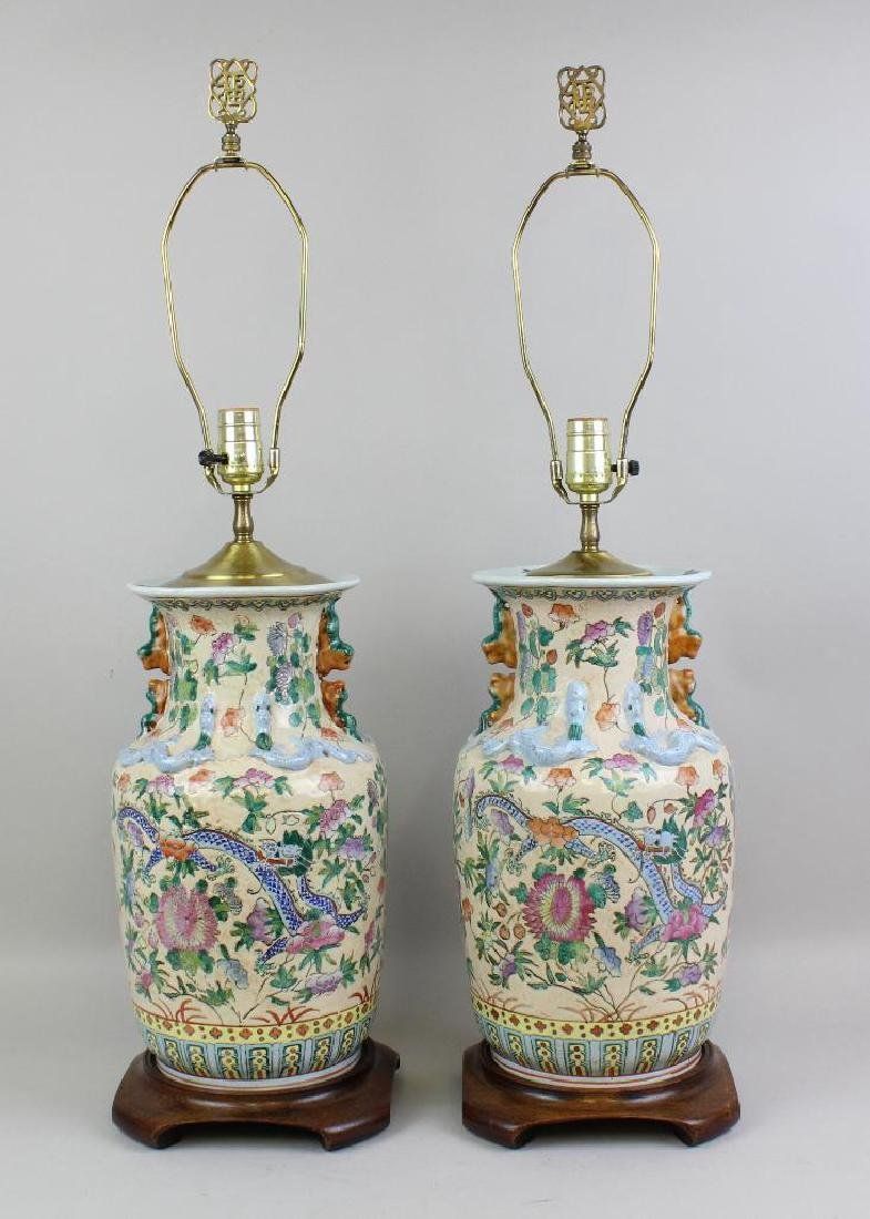 Pair of Chinese Export Lamps