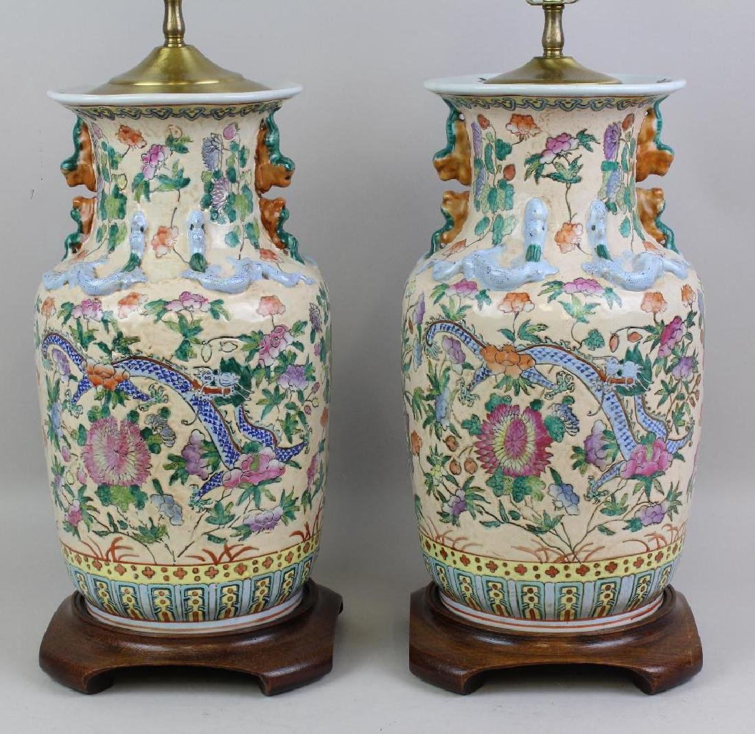 Pair of Chinese Export Lamps - 2