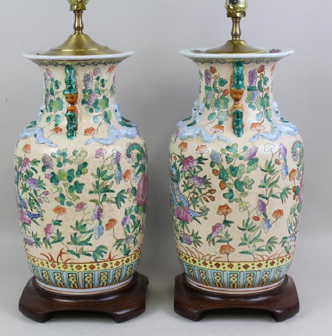 Pair of Chinese Export Lamps - 6