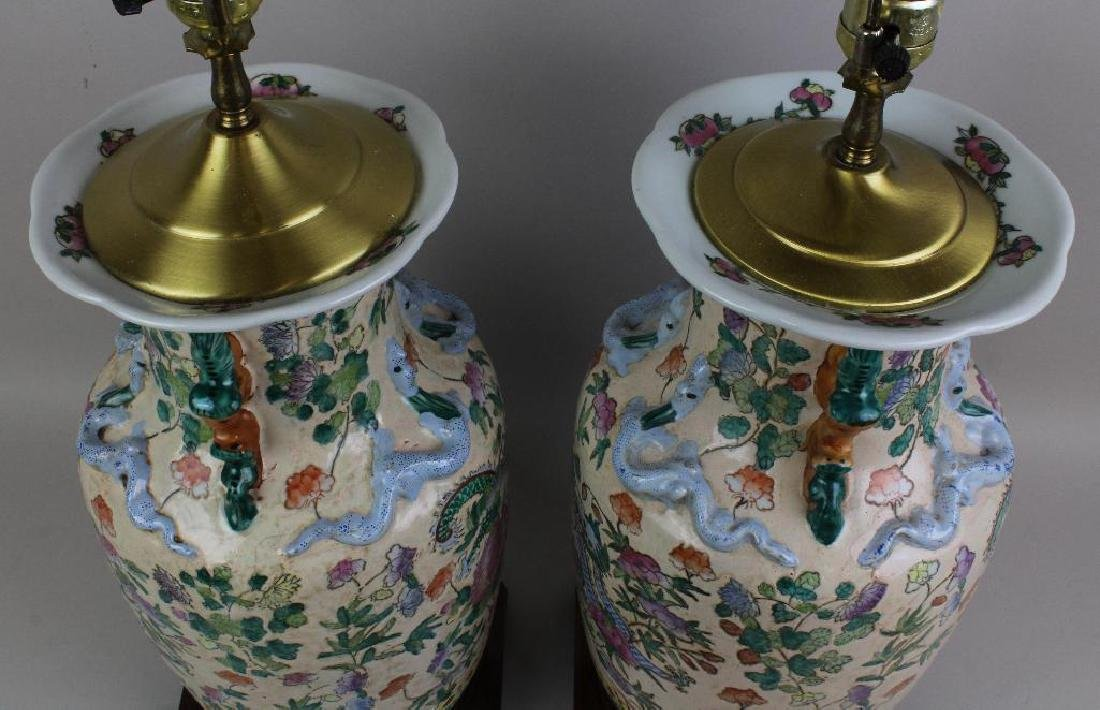 Pair of Chinese Export Lamps - 7