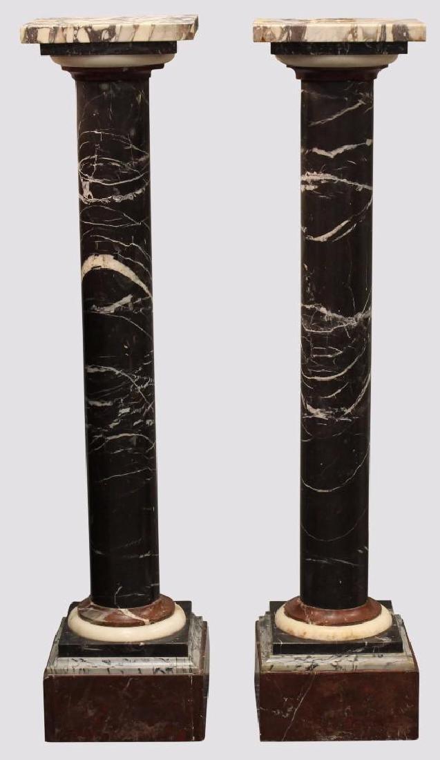 (2) Pair of Marble Column Pedestals