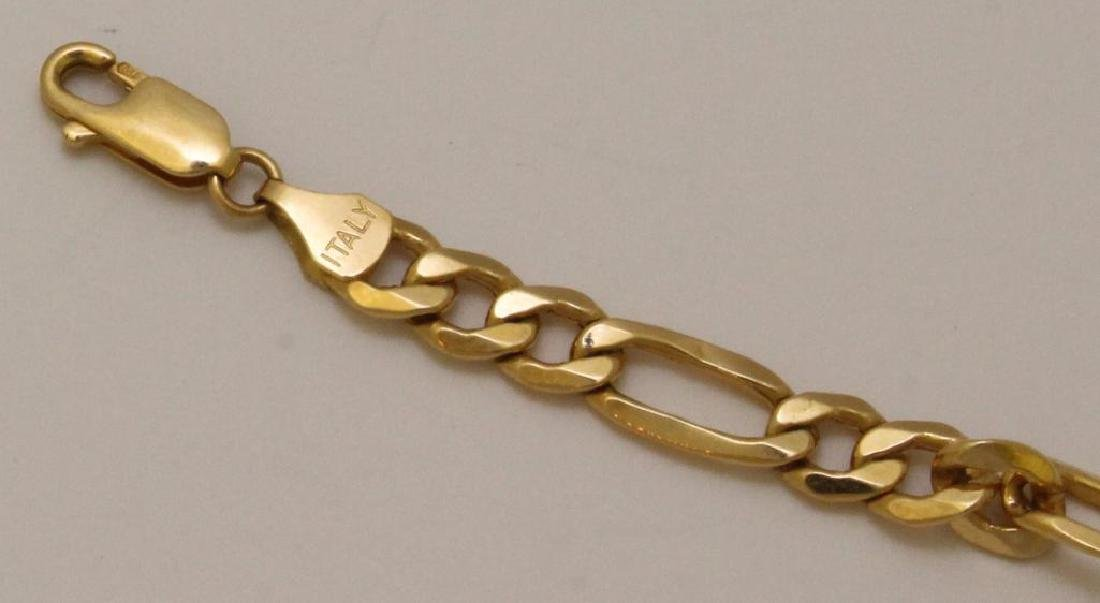 18KY Gold Figaro Bracelet - 3