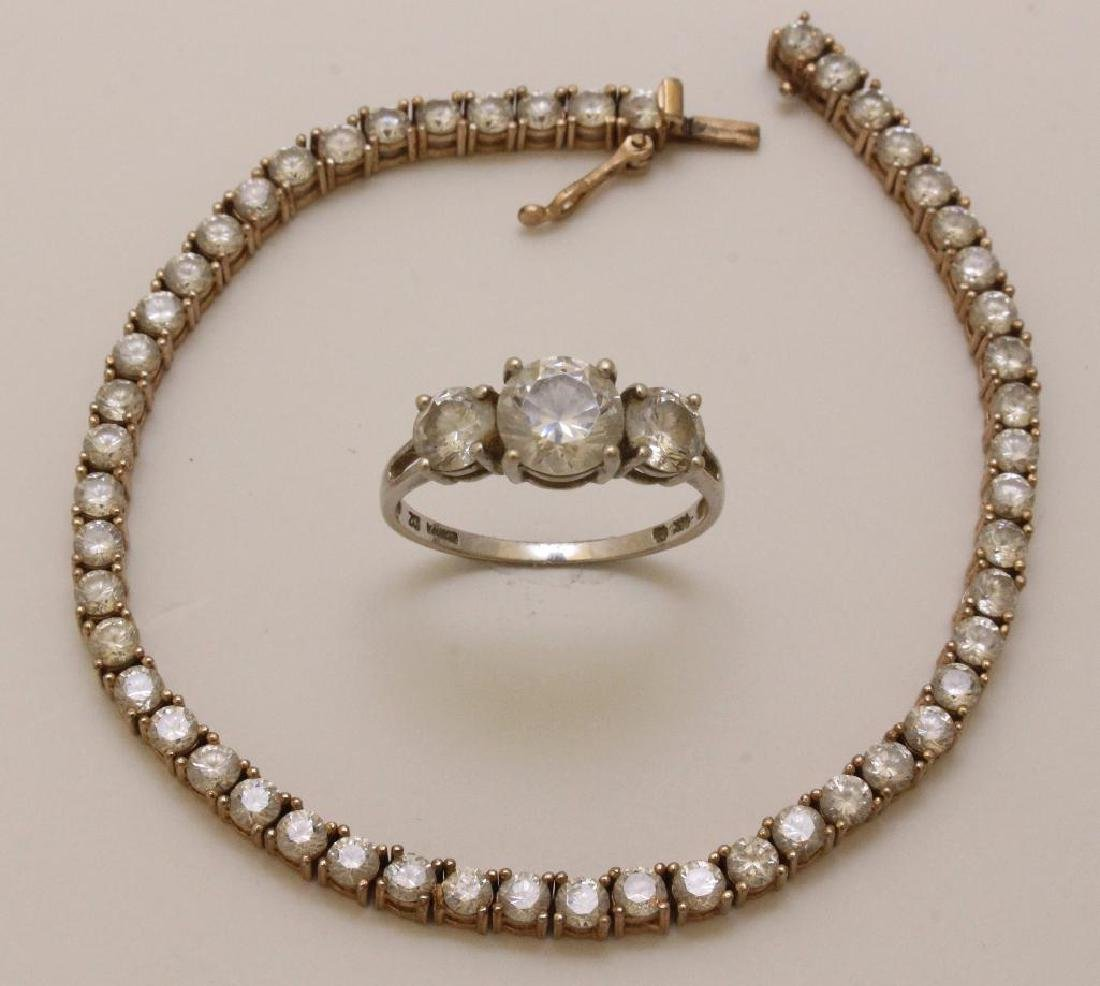 14KW Gold Ring and Sterling SIlver Bracelet with CZ