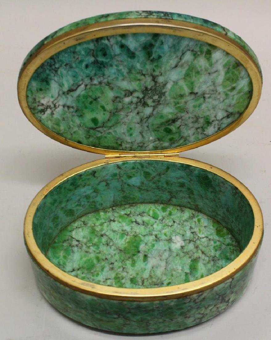 Green Marble Oval Box - 2