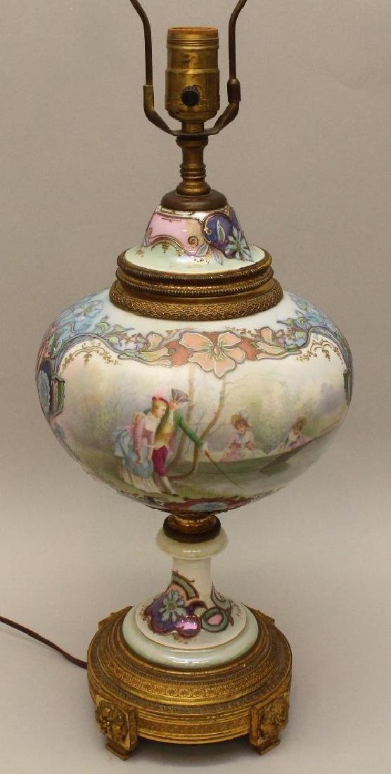 Art Nouveau Painted and Bronze Lamp