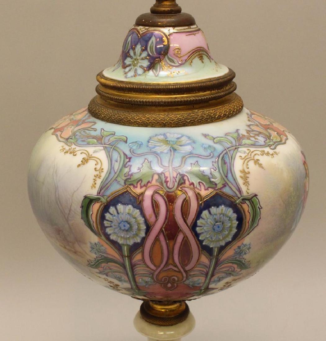 Art Nouveau Painted and Bronze Lamp - 3