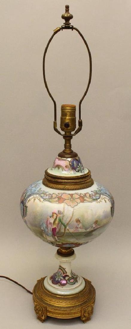 Art Nouveau Painted and Bronze Lamp - 4