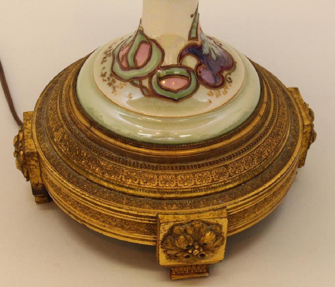 Art Nouveau Painted and Bronze Lamp - 5