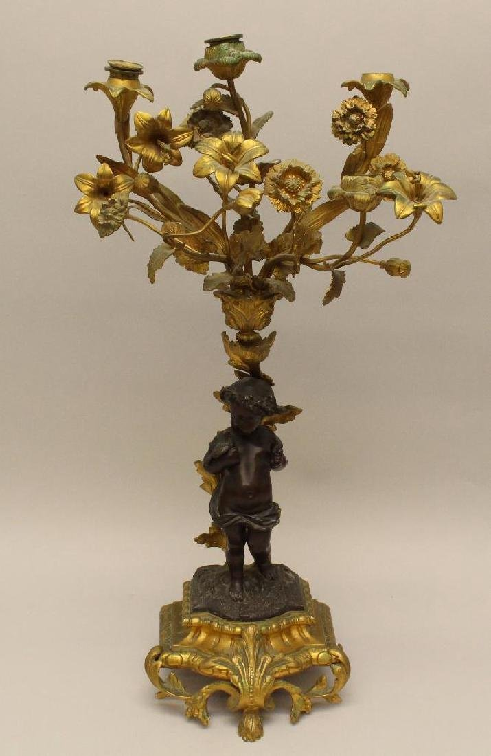 French Gilt Bronze Candelabra